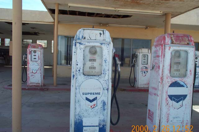 An old Chevron gas station at Desert Center, California.