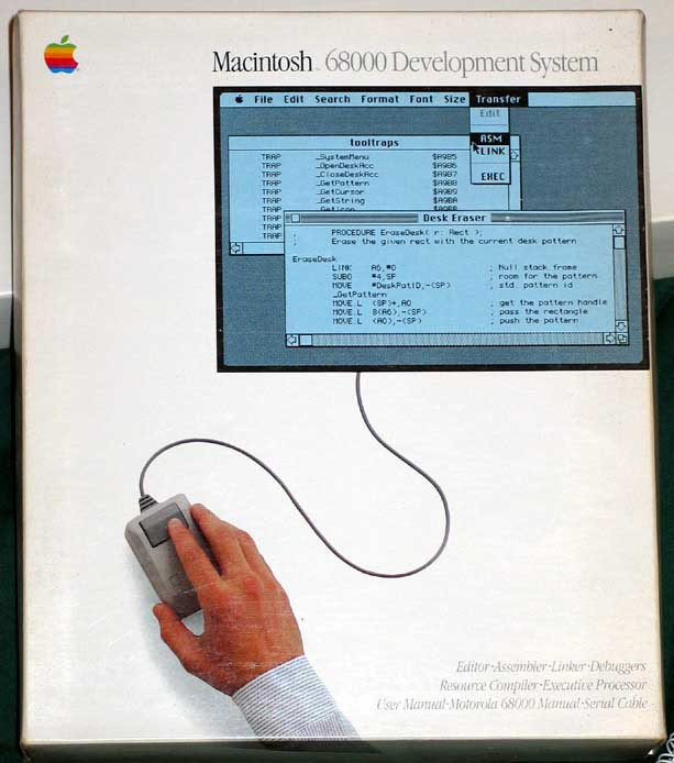 The box that the first Macintosh development system was shipped in.