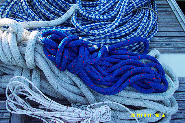 A rope being used aboard a ship is called a line.
